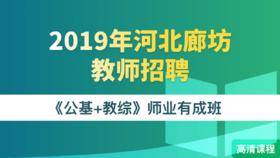 2019年河北廊坊市教師招聘《公基+教綜》師業有成班