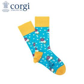 英国CORGI·夏季新款女士时尚印花袜轻薄透气休闲运动中筒袜