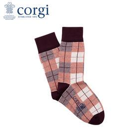 英国CORGI·夏季新款男士英伦格纹袜商务精英袜透气轻薄中筒袜
