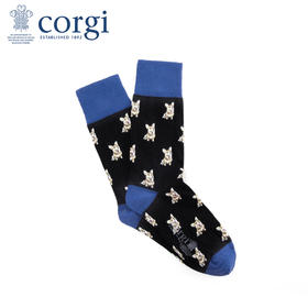 英国CORGI·男士夏季新款时尚轻棉长袜轻薄透气中筒袜印花狗狗