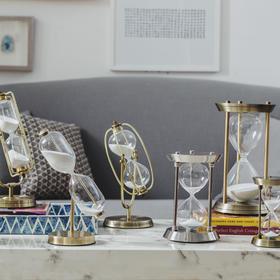 现代简约金属沙漏计时器摆件北欧风格创意家居 客厅酒柜摆设