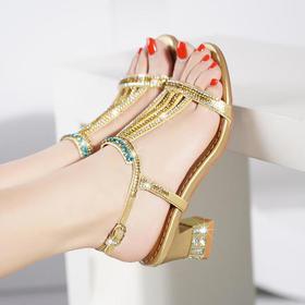 性感镶钻,真皮中高跟凉鞋 LX-1445521