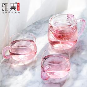 雅集泡茶壶玻璃过滤家用玻璃女茶壶花茶壶耐高温办公简易茶具套装