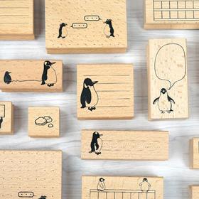物历小印丨一大群企鹅 木质印章 手帐工具