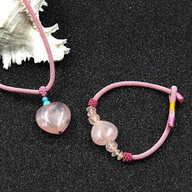 天然粉水晶心形项链  手链