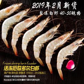全国包邮(除偏远地区)19年新货 厄瓜多尔白虾40-50单冻原装 1750g/盒 超大虾海鲜