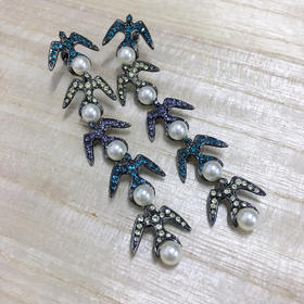 SCHIELD  SWALLOW EARRINGS/燕子珍珠水晶长款耳环