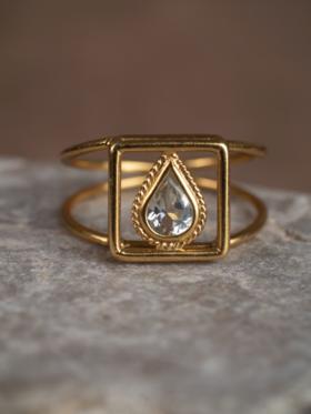 Leeloo Bird 水晶镀金戒指
