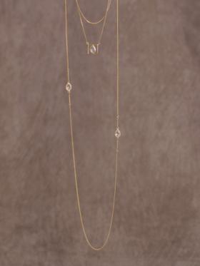 Leeloo Bird 水晶镀金复古长款项链