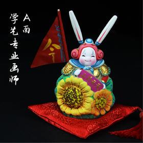 北京传统泥彩塑彩绘兔爷——AB双面兔儿爷