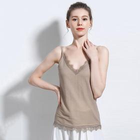 【艾草纤维防蚊驱虫】透气棉麻蕾丝吊带 蕾丝V领打底背心 时尚百搭显瘦 舒适零束缚