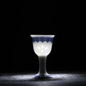 富玉 中式仿古青花玲珑小酒杯