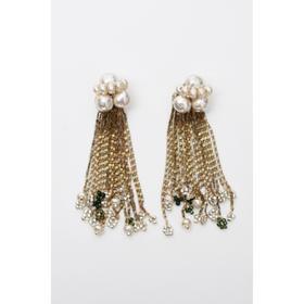 monshiro 巴尔莎珍珠长款流苏耳环