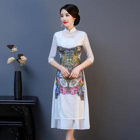 QQ9217新款蕾丝双层中式立领旗袍TZF