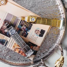 奇居良品 DF客厅酒柜书柜装饰摆设轻奢金色本杰明装饰座钟台钟摆件
