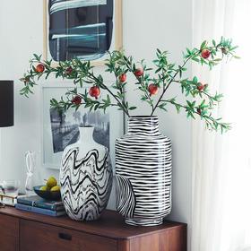 奇居良品 DF格纳黑白系印度进口竹制装饰花瓶假花花插客厅餐厅装饰摆件摆瓶