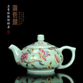 宝瓷林 豆青珐琅彩折枝柿壶
