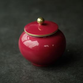 长物居 胭脂红手工仿古陶瓷茶叶罐