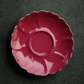 长物居 胭脂红手工陶瓷杯托茶托