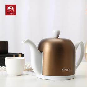 金属盖陶瓷茶壶