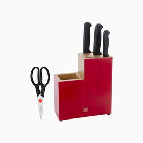 双立人ZWILLING  Enjoy系刀具5件套红色刀架款 为国人使用习惯优化设计