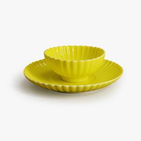 柠檬黄釉金菊杯