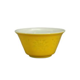 黄釉玲珑撇口杯