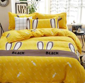 【家纺】.四件套简约斜纹床上用品4件套双人床单被套套件