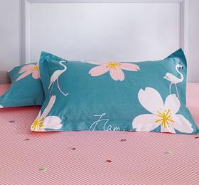 【家纺】.纯棉枕套单个床品全棉条纹花卉枕套单只