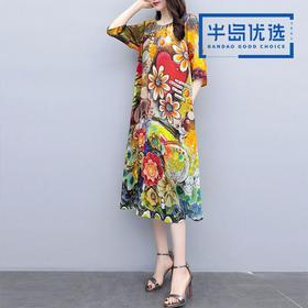 服装女装2019夏季新品中长款韩版宽松大码遮肚显瘦气质印花连衣裙8158