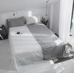 【家纺】.全棉水洗棉床单单件日式素色简约学生宿舍单人被单家纺