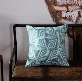【家纺】.纯棉刺绣沙发抱枕靠垫美式车简约现代几何蓝靠垫枕套