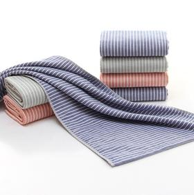 【家纺】.日系条纹纱布纯棉毛巾洗脸巾日用纺织品