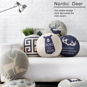 【家纺】.北欧棉麻抱枕套装饰靠枕家居家纺午睡枕坐垫亚麻抱枕