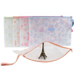 【办公文教】办公用品A4网格拉链文件袋透明手提资料袋学生文具袋