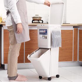 双层分类垃圾桶,日式干湿分离,厨房办公家用垃圾桶,无需弯腰作业