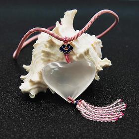 天然白水晶心形套链