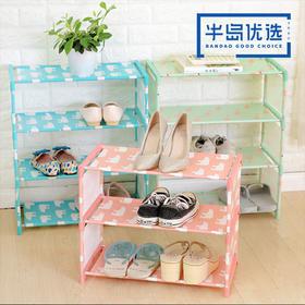 居家多功能组装鞋架客厅卧室纯色防水布艺鞋子收纳架 颜色随机