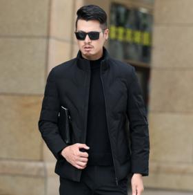【羽绒服男】.* 男款冬季短款羽绒服中年男士立领白鸭绒外套修身棉服 | 基础商品