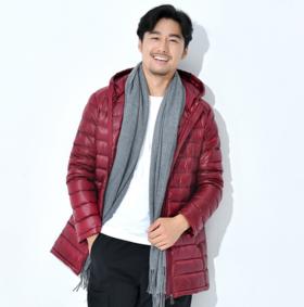 【羽绒服男】* 轻薄款羽绒服男中长款连帽修身韩版加大码男装外套 | 基础商品