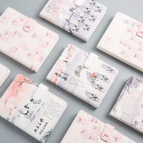 创意皮面手账本日式可爱三国磁扣笔记本加厚记事手帐本子