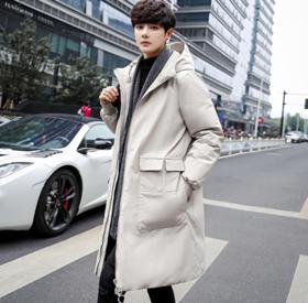 【羽绒服男】* 冬季中长款羽绒服男加厚款保暖韩版青年时尚连帽潮流外套 | 基础商品