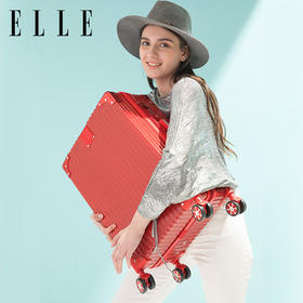 ELLE 新款热销 铆钉包角条纹商务拉杆箱