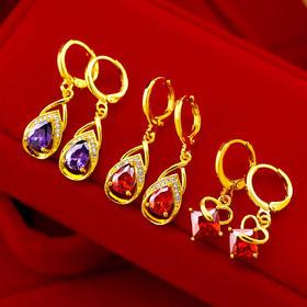 【清仓特价 不退不换】NY001561新款越南沙金彩钻宝石水滴耳环TZF