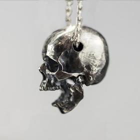 【高度精细、上下颚可动】白木黑冰原创作品骷髅头二代S925纯银吊坠手工制作