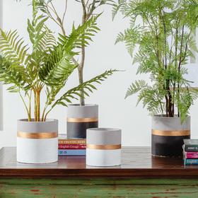 奇居良品 北欧ins风现代绿植多肉水泥花盆圆形室外花园装饰花盆