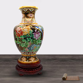 景泰蓝 铜胎掐丝珐琅 锦地花鸟器垒 30×30×59cm