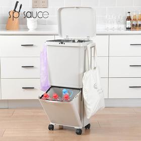 【垃圾分类】日本SP家用厨房带盖双层分类垃圾桶塑料大号不弯腰干湿分离创意