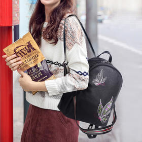 麦包包-戈尔本 【梦幻蝶影3D刺绣】栩栩如生动感手提包双肩包女士