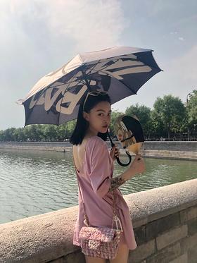 少女脏粉紫色大露背oversize宽松T恤裙